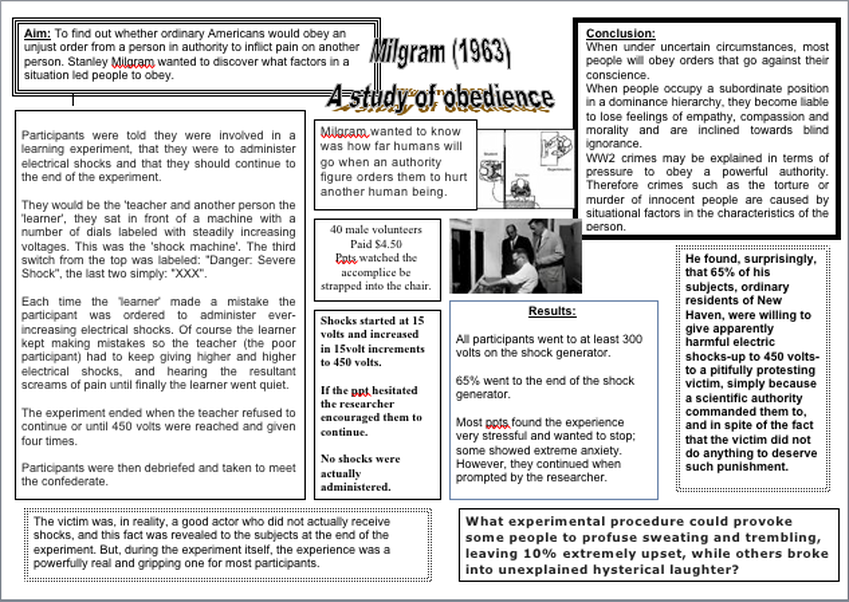 an essay in justification of stanley milgrams study on obedience Punishment in the milgram obedience experiment essay example the milgram experiment (hart) stanley milgram's experiment in the way people respond to obedience.